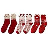 LAEMILIA Lot de 3 Adulte Unisexe Chaussettes Thermiques Fille Noël Femme Souple Cadeau Fête Christmas (3PCS)