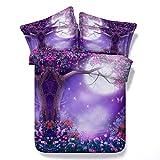 HUANZI Doppelte Größe 3D Bettbezug Baum Digitaldruck Lila Faser Material Bettwäsche-Sets, 150*200