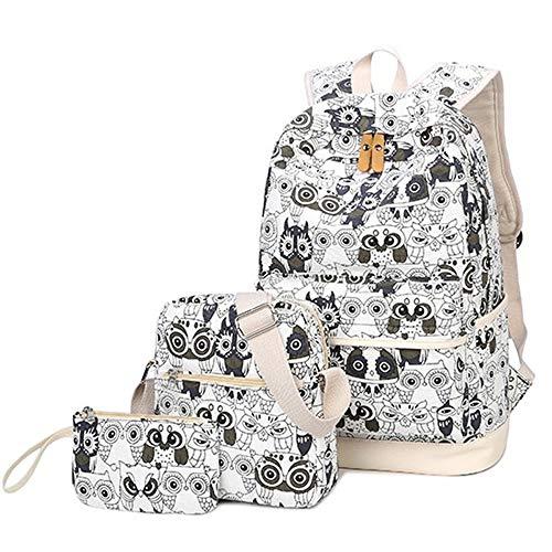 (MMJ Eule bedruckter Rucksack, beiläufige Rucksack-tragbare Segeltuch-im Freienbeutel, verwendbar für Studenten, Sommerlager, Winterlager, im Freienreise (Farbe : Weiß))