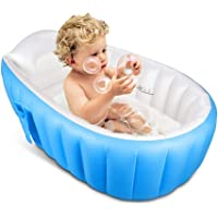 Yozo Mini Air Thick Foldable Inflatable Basin with Soft Cushion Central Seat Baby Bath Tub for Newborn Kids (Blue)