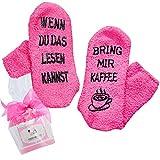 [ Kaffee Socken fusselfrei] WENN DU DAS LESEN KANNST, BRING MIR KAFFEE in Muffin-Verpackung, Geschenk für Frauen Kaffee-Zubehör, Geburtstags-geschenk, Gastgeschenk (Rosa)