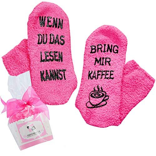 Kaffee-Socken fusselfrei, Geschenk für Frauen zum Weihnachten, WENN DU DAS LESEN KANNST, BRING MIR KAFFEE, Geburtstagsgeschenk für Freundin, Schwester-Geschenk, 30-40-50-Geburtstag (Rosa-Kaffee)