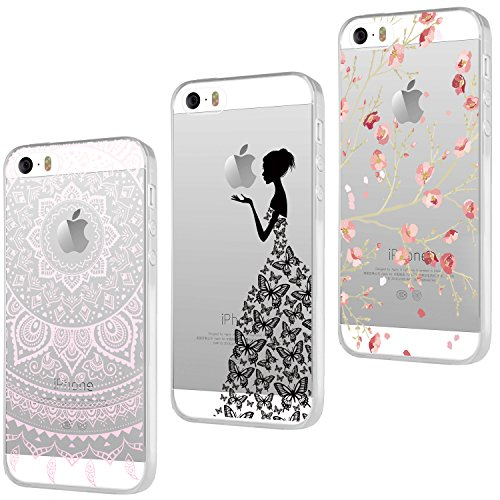 3x Coques , ivencase 3 en 1 Coque Apple iPhone SE, Etui iPhone 5S,iPhone 5 Étui TPU Silicone Souple Coque Clair Transparent Cover Ultra Mince Gel Doux Soft Case Housse Protection Anti Rayures Motif Mandala + Fleur Pink + Filles Papillon