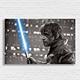 Box Prints Luke Skywalker Star Wars Film Retro Vintage Stil Poster Drucken Schwarz Weiß gerahmte Kunst Bild Klein groß