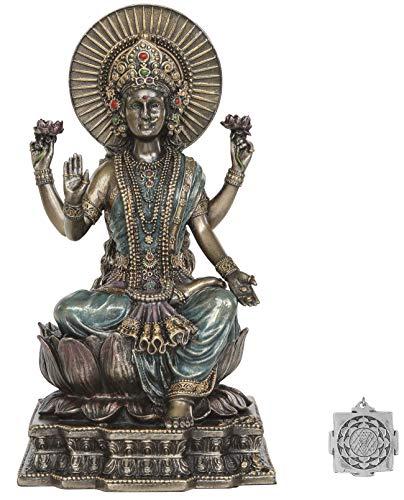 Sarimoire Lakshmi -Altar-Versorgungskit - 6.2 pollici (H) Cast freddo Lakshmi statua dea indù di ricchezza e prosperità fortuna ~ Lotus Sri Yantra ornamento Bronzo