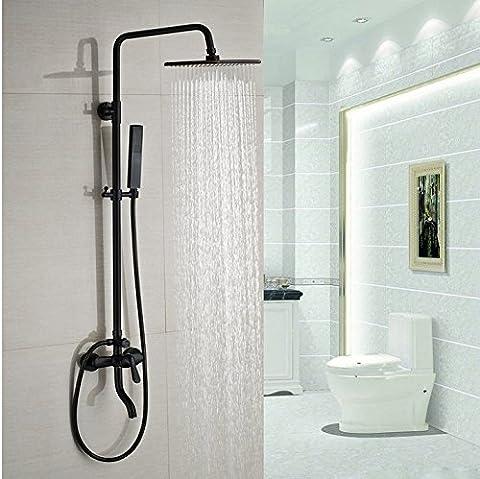 Gowe deux style murale 20,3cm pluie douche mitigeur lavabo avec bec Baignoire avec Douchette Robinet de douche de bain Oil-Rubbed Bronze couleur: noir