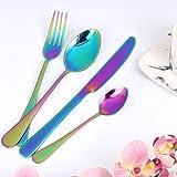 Wanxida 4-teilig Besteck Set Bunt Romantisch Abendessen Set Hochzeit Reise RainbowFlatwareSet Rostfreier Cutlery Abendessen Messer Gabel Suppe Löffel