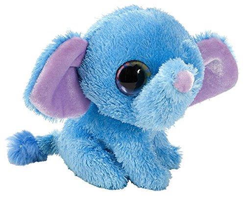 er Elefant Plüschtier mit Regenbogen Augen, Kuscheltier sitzend ca. 13 cm (Blau Elefant Stofftier)