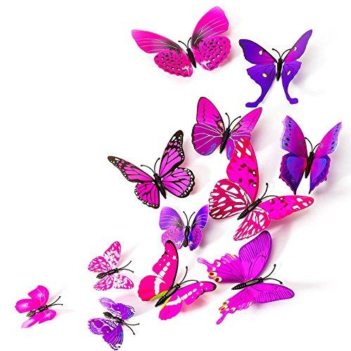 MissBirdler 24 Stk. Schmetterlinge 3D Effekt Kühlschrank Schmetterling Magnet mit Klebepunkten Wandtattoo Lila-Pink Wand Aufkleber Dekoration Einrichtung Wohnzimmer Schlafzimmer Küche Kinderzimmer Deko Butterfly Wall Sticker Magnet (Schmetterling-kühlschrank-magnete)