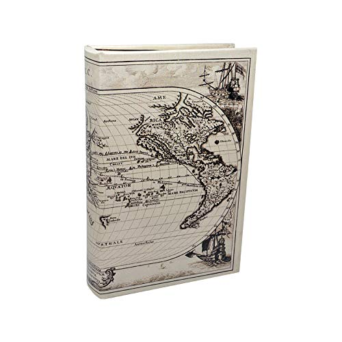 Art Deco Home Libro-Caja Fuerte Mapa Mundi BCO/Negro 16x5x24cm