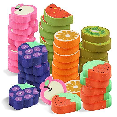THE TWIDDLERS 96 neuartige Mini-Spielzeugradierer in 6 Verschiedenen Fruchtdesigns - Ideal für Partygeschenke, Partytaschen & Pinata-Füllungen & Weihnachtsstrümpfe. Kinder Radiergummi Frucht Essen Mitgebsel.