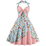CharMma Women's Vintage Halter Rockabilly Swing Floral Print Tea Cocktail Dress (Medium, Peony Pink)