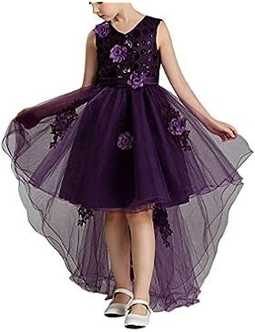 Vestido De Princesa De Niñas Vestidos Sin Mangas Vestidos Elegante De Coctel Fiesta Largos De Noche 426Purpura...