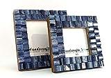 Bilderrahmen Fotorahmen Zierleiste Kette Kunst Inspiriert Handgefertigt Naturtöne Knochen Rahmen 2er Set Größe 3x3 & 10.2x10.2cm - Blau, 12,7 x 17,7cm