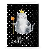 Mr. & Mrs. Panda Grußkarte Katzen Koenig - Katzen, Katze, Kater, Mietze, Cat, Cats, Katzenhalter, Katzenbesitzerin, Haustier, König, Königin, Queen, Familie, Mietzhaus, Wohnung, erste eigenen Wohnung, Umzug, Einzug Grusskarte, Klappkarte, Einladungskarte, Glückwunschkarte, Hochzeitskarte, Geburtstagskarte