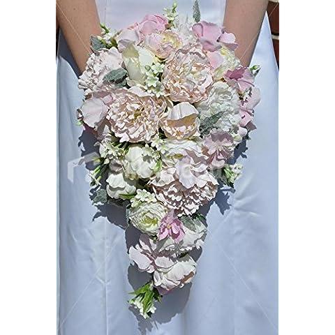 Colore: Avorio/Rosa pallido, Stephanotis peonia ed ortensia, Cascade, motivo: Bouquet della sposa