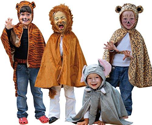 e-Tiere-Kostüm-Set, 4-teilig - Kinderkostüm, Universalgröße (3-8 Jahre), Verkleidung (Kinder Leoparden Kostüme)