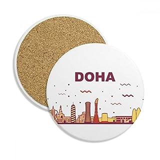 DIYthinker City Landmark-Gebäude Doha Stein Getränk Keramik-Untersetzer für Becher-Schalen-Geschenk 2pcs Mehrfarbig