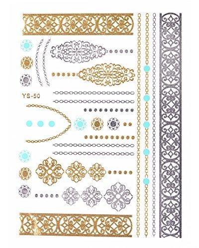 Gold Metallic Flash Tattoos mit Silber und Türkis -