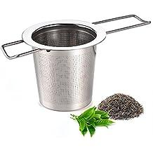 Infusor de té, austor infusor de té colador de té de acero inoxidable más grano Filtro con asa plegable para hojas sueltas té tazas, tazas, y macetas