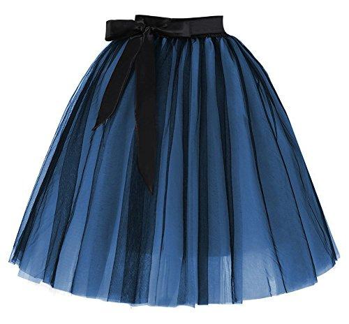 Facent Damen 6 Schichten Knielang Tüllrock Midirock Tüll Kleid Rock Schwarz Blau
