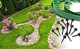 Bordes flexibles de plástico verde para jardín, para delimitar caminos o césped, 10 metros Fáciles de instalar, se incluyen 30clavijas para la instalación