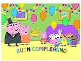 CIALDA in ostia PEPPA PIG - BUON COMPLEANNO per DECORAZIONE TORTA