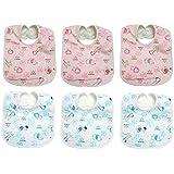 Manan Shopee Waterproof Baby Bib/Soft Baby Bib/Skin Friendly Bib (Color & Print Ship As Per Stock Available- Color & Print May Vary) (Soft Bib Pack Of 6 Blue,Pink)
