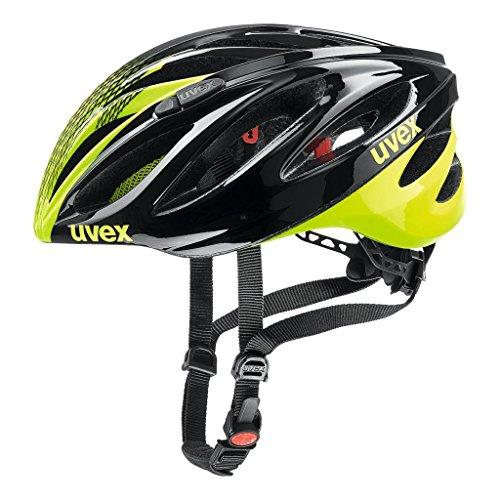 Uvex Boss Race Casco Ciclismo, Unisex Adulto, Negro/Amarillo Neon, 55-