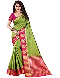 Nirja Creation Cotton Silk Saree With Blouse Piece (NC-OD-MANGO-03_Green_Free Size)