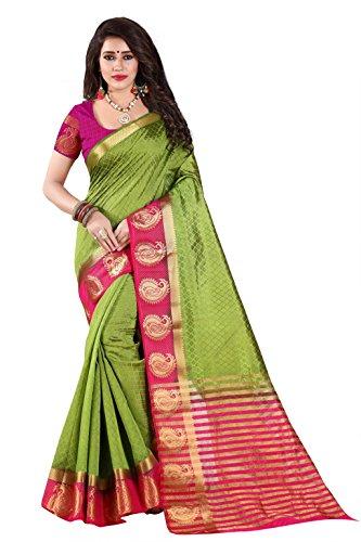 Nirja Creation Cotton Silk Saree With Blouse Piece (NC-OD-MANGO-03_Green_Free Size)