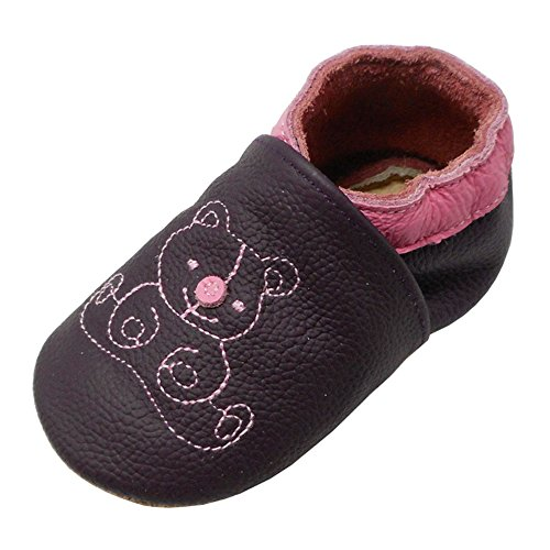 Yalion Baby Weiches Leder Lauflernschuhe Krabbelschuhe Hausschuhe Lederpuschen Bärchen (20/21, Dunkelviolett)