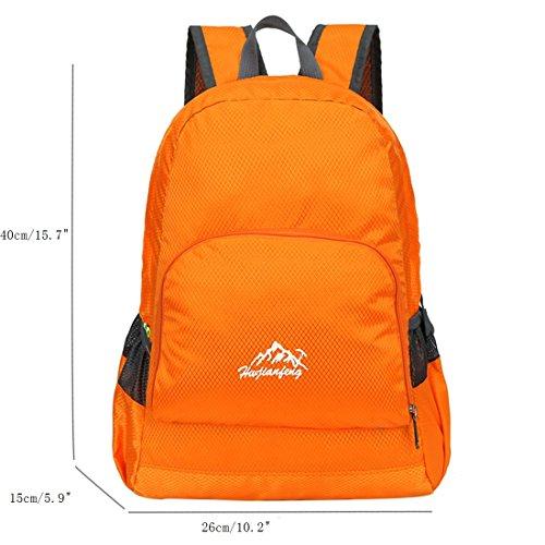 Zaino Leggero Pieghevole - Landove Zaini da Escursionismo Leggeri Impermeabile Trekking Scuola Borsa Sportiva da Viaggio per Bici Campeggio Outdoor Alpinismo arancione