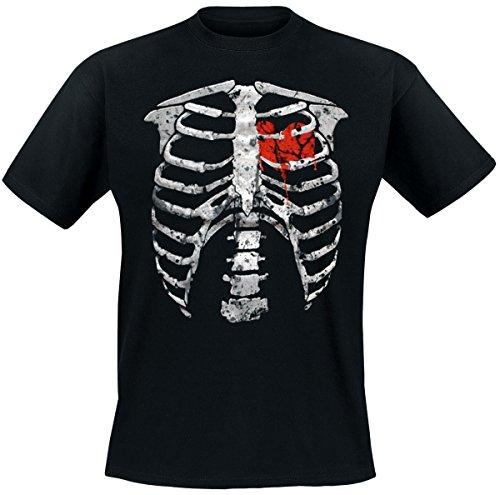 Darkside – Skelett + blutendes Herz T-Shirt, schwarz, Grösse XL (Herz Blutendes)