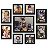 Galaxy Synthetic Glass Photo Frames for Walls Decoration (Set of 9),Black