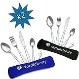 Nordicberry Premium Outdoor Reisebesteck und Campingbesteck aus hochwertigem Edelstahl mit Neoprentasche (Doppelpack blau/schwarz)