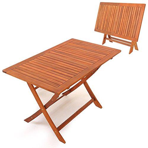 Deuba Gartentisch Holz massiv | Maße 120 x 70 cm | Akazien Hartholz | klappbar | vorgeölt - Klapptisch Holztisch Balkontisch Esstisch Garten Gartenmöbel