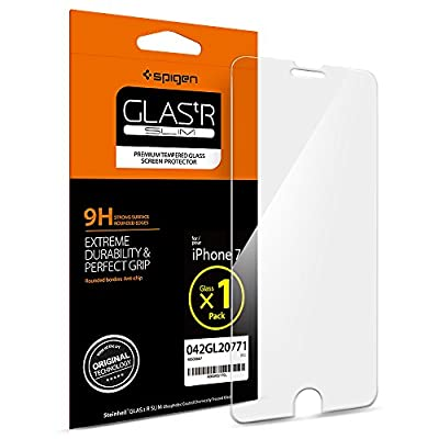 iPhone 7 Screen Protector, Spigen® [Easy-Install Wings] Tempered Glass, Anti-Scratch Ultra Clear Most Durable iPhone 7 Glass Screen Protector, Apple iPhone 7 / 6S / 6 Screen Protector Tempered Glass (042GL20771)