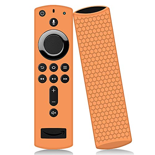 Remote Case/Cover for Fire TV Stick 4K,Oyrlize Full Body Protective Silicone Case Shockproof Flexible Anti-Lost Skin Alexa Voice Remote Covers for Fire TV Cube Fire TV Stick(2nd &3rd Gen) (Orange) -