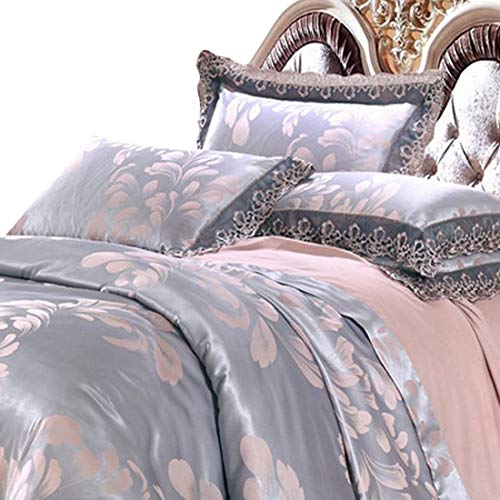 Klerokoh Einfache Neue modale Satin Jacquard Baumwollspitze Bettwäsche Set (Color : Gray, Size : Queen) -