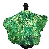 Schmetterling Kostüm Dasongff Damen Weiches Gewebe Pfau Schmetterling Flügel Schal Umschlagtücher Nymphe Pixie Poncho Kostüm Zubehör für Show/Daily / Party (197 * 125CM, Grün)