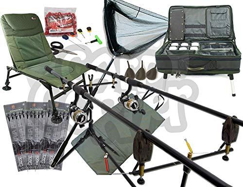 Karpfen Angeln-Set Up mit 2 X 12ft 2.75lb TC Ruten Rollen Alarm Pod und Ausrüstungs-station Ideales Weihnachtsgeschenk Beinhaltet Köder Gerät und Rigs NGT -