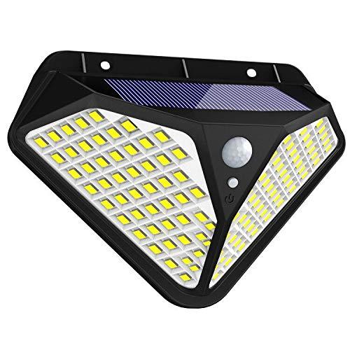 Fortand Solarleuchte für Außen,【Superhelle 102 LED-270 °Vierseitige Beleuchtung】LED Solarleuchte mit Bewegungsmelder Solar Wasserdichte Wandleuchte mit 3 Modi Für Garten,Balkon,Deck, Hof,1Stück