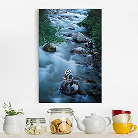 Bilderwelten Canvas Art - Fly fishing in Colorado - Portrait Format 3:2, canvas pictures canvas wall art canvas print XXL canvas prints, Dimension HxW: 90cm x 60cm