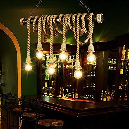 E27 Industriependelleuchte Doppel-Kopf-Weinlese-Edison-Seil-Deckenleuchte Home Restaurant Themed Party Dekoration Hanfseil
