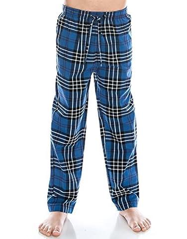 [Free Shipping]TINFL Boys Plaid Check Soft 100% Cotton Flannel Lounge Pants PB-15-Blue-YXL