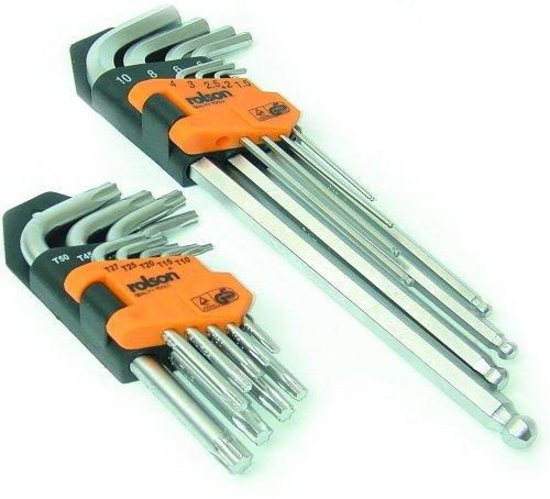 Rolson Tools 40389 Innensechskant-Schlüsselsatz in Halter, 18-teilig