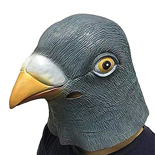 (YXIAOL Halloween-Kapuzen-Taube Maske Super Süße Spatz Maske Latex Tier Kapuze Böse Vogel Perücke,Gray)