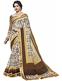 Miraan Women's Linen Saree With Blouse Piece (Srh848_Brown)