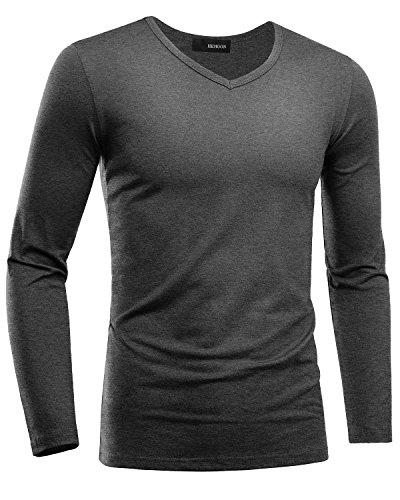 Preisvergleich Produktbild HEMOON Herren Slim Langarmshirt Classics Top V-Ausschnitt Tee Fitness Dunkelgrau L